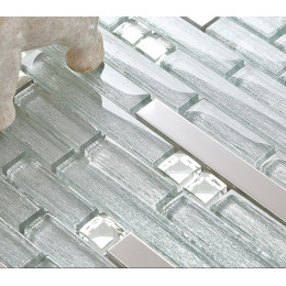 Silver Stainless Steel Tile Crystal Glass Backsplash Metallic Tiles Rhinestone Mosaic Bathroom Tile
