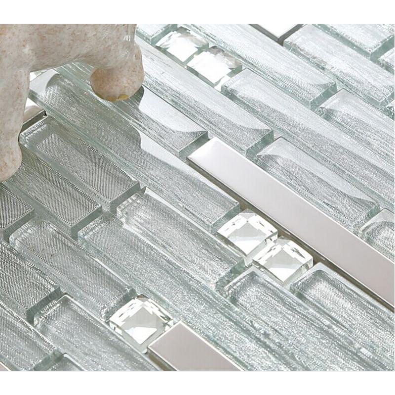 Groovy Silver Stainless Steel Tile Crystal Glass Backsplash Metallic Tiles Rhinestone Mosaic Bathroom Tile Interior Design Ideas Gentotthenellocom