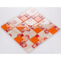 Orange Glass Mosaic Wall Tiles Kids Room Decor Red Glossy Crystal Backsplash Glam Bathroom Shower Tile