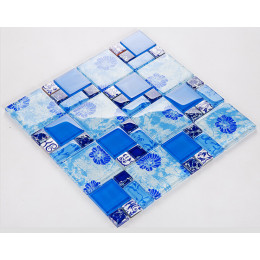 Blue Glass Mosaic Bathroom Wall Tiles Glossy Crystal Backsplash Kitchen Tile Glam Bathtub Decor Ideas