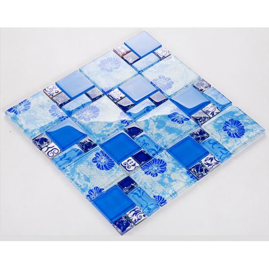 Blue Glass Mosaic Bathroom Wall Tiles Glossy Crystal Backsplash Kitchen Tile Glam Bathtub Decor Ideas