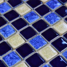 Glazed Porcelain Tiles Blue and Off-White Backsplash Ideas 1 x 1 In. Ceramic Modern Tile for Bathrooms
