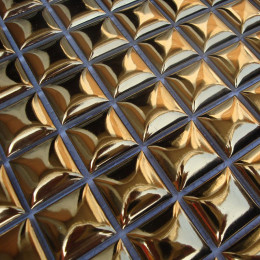 Gold Porcelain Tile Backsplash 3d Pyramid Design Glossy Ceramic Mosaic for Bathroom Shower and Kitchen