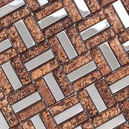 Silver Stainless Steel Metal Tile Brown Glass Backsplash Tiles Crystal Mosaic Metallic Bathroom Wall Tiles