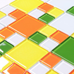 Crystal Glass Cheap Tile Yellow Orange Green and White Mixed for Kitchen Backsplash and Bathroom