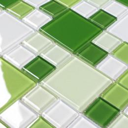Green Glass Kitchen Tiles White Glitter Backsplash Wall and Floor Tile Glossy Crystal Tile for Countertops