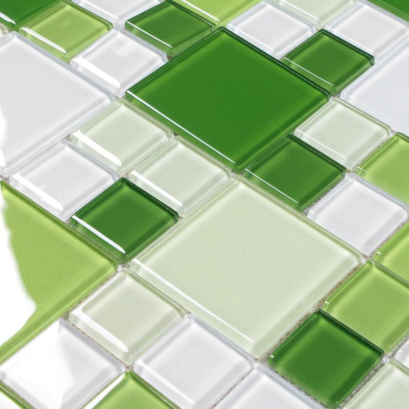 Green Gl Kitchen Tiles White Glitter
