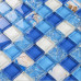 Sky Blue Cracked Glass Mosaic Resin Conch Tile Kitchen Backsplash White Crystal Bathroom Wall Tiles