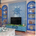 Sky Blue Cracked Glass Mosaic Resin Conch Tile Kitchen Backsplash White Crystal Bathroom Wall Tiles