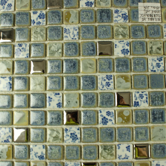 Blue and White Porcelain Tiles Kitchen Backsplash Glazed Ceramic Modern Tile for Bathrooms