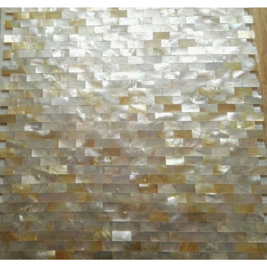 Gold Shell Subway Tile Deep-water Seashell Mosaic Backsplash for Kitchen Seamless Bathroom Tiles