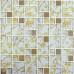 White Crystal Kitchen Backsplash Tile Gold Coated Glass Mosaic Accent Bathroom Wall Tiles