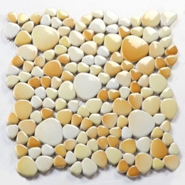 Off-White Porcelain Pebble Tile Colorful Ceramic Mosaic Floor Tile Bathroom Backsplash Wall Tiles