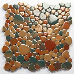 Multi Colored Porcelain Pebble Tile Glossy Ceramic Mosaic Floor Tile Bathroom Backsplash Wall Tiles