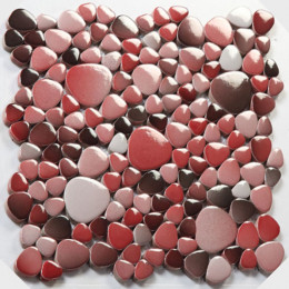 Red Porcelain Pebble Tile Glossy Ceramic Mosaic Floor Tile Bathroom Backsplash Wall Tiles