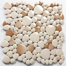 White and Brown Porcelain Pebble Tile Glossy Ceramic Mosaic Floor Tile Bathroom Backsplash Wall Tiles