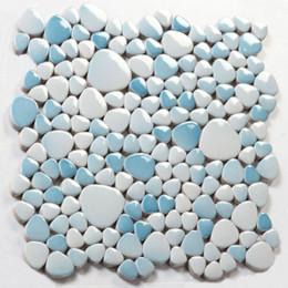 White and Blue Porcelain Pebble Tile Glossy Ceramic Mosaic Floor Tile Bathroom Backsplash Tiles