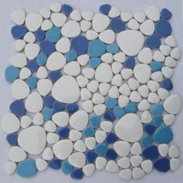 White / Aqua Blue / Baby Blue Porcelain Pebble Tile Glossy Ceramic Mosaic Floor Tile Bathroom Backsplash Tiles