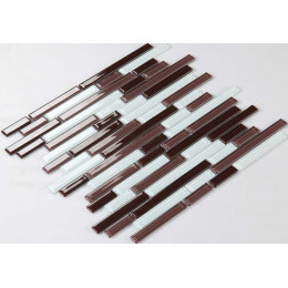 Glossy Glass Tile Kitchen Backsplash with Brown and White Strip Crystal Wall Tiles for Bathroom