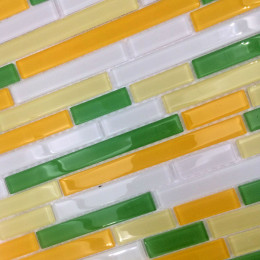 Glossy Glass Tile Backsplash with Green Yellow Orange and White Strip Crystal Wall Tiles for Bathroom