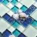 Blue Glass Mosaic Resin Shell Tile Cracked Crystal Kitchen Backsplash Beach Style Bathroom Wall Tiles