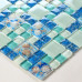 Blue Glass Mosaic Resin Shell Tile Cracked Crystal Kitchen Backsplash Beach Style Bathroom Wall Tiles