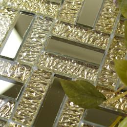 Mirror Glass Backsplash Tile Gold Crystal Mirrored Tile for Kitchen and Bathroom Walls