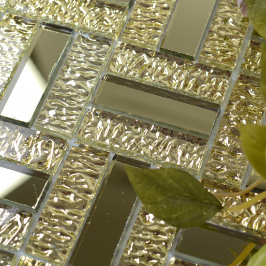 Mirror Glass Backsplash Tile Gold Crystal Mirrored Tile for Kitchen and Bathroom Walls
