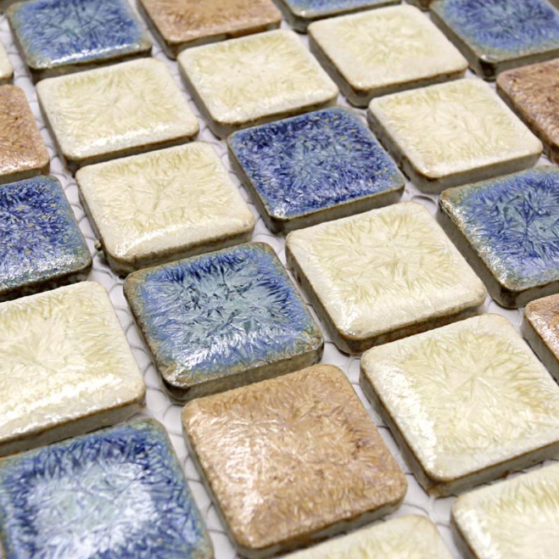 Blue Beige And White Porcelain Mosaic Backsplash Tiles Fifyh Com