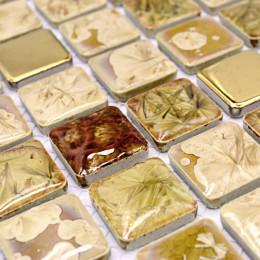Glazed Porcelain Tile Golden Coated Ceramic Mosaic Tiles for Backsplash Kitchen and Bathroom Wall Ideas