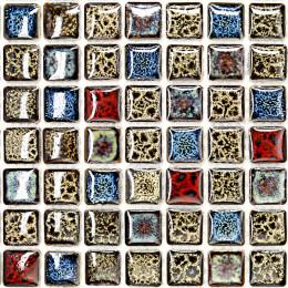 Brown Red and Blue Porcelain Mosaic Italian Tile Backsplash Glazed Ceramic Tile Shower Wall  Tiles