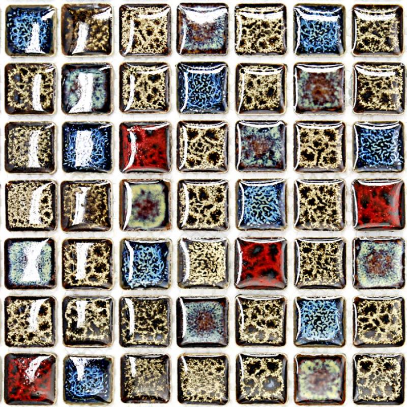 Brown Red And Blue Porcelain Mosaic Italian Tile Backsplash Fifyh Com