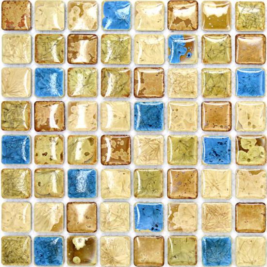 Blue and Off-White Porcelain Wall Tile Backsplash Glazed Ceramic Mosaic Bathroom Floor Tiles