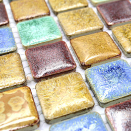 Gold Blue Green and Brown Porcelain Mosaic Multi Color Tile Backsplash Glazed Ceramic Italian Tiles