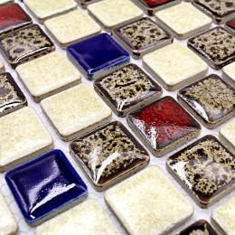 Red Blue Brown and Off-White Porcelain Multi Color Tile Backsplash Glazed Ceramic Mosaic Bathroom Tiles