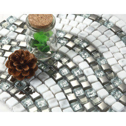 White Stone Mosaic Bathroom Glass Mirror Backsplash Tiles Silver Coated Crystal Kitchen Tile Wave Patterns