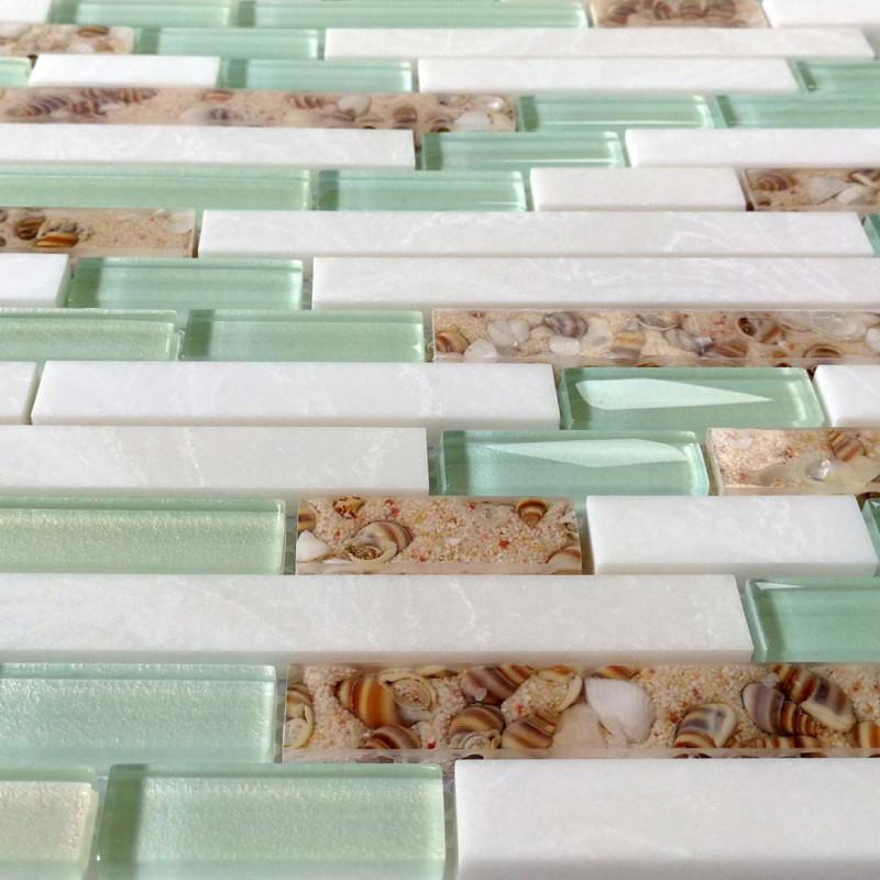 Sea Green Gl And White Stone Tile
