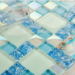 Blue Cracked Glass Mosaic Resin Conch Tile Kitchen Backsplash Iridescent Crystal Bathroom Wall Tiles