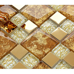Gold Stainless Steel and Glass Blend Mosaic White Crystal Backsplash Tile for Kitchen and Bathroom