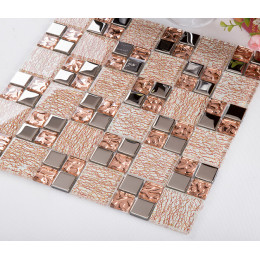 Silver Coated Glass Mosaic Copper Clear Crystal Backsplash Tile Glam Kitchen and Bathroom Wall Tiles