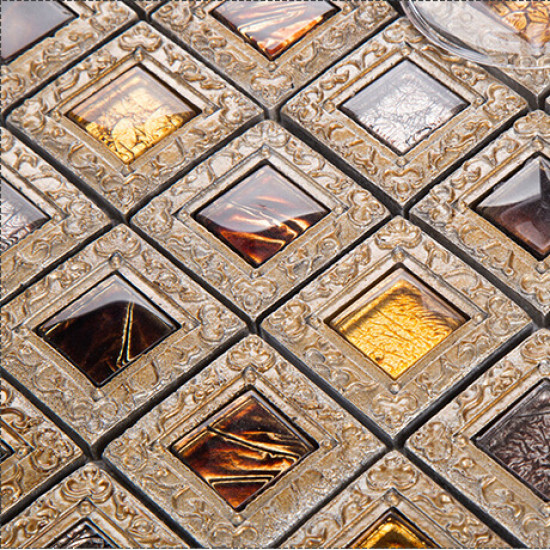Antique Glass Tile Backsplash for Kitchen and Bathroom Coated Resin Accent Wall Tiles