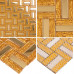 Gold Stainless Steel and Glass Blend Mosaic Striped Crystal Backsplash Tile for Kitchen and Bathroom Wall