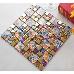 Gold Coated Glass Mosaic Multi Colored Crystal Backsplash Tile Glam Kitchen and Bathroom Wall Tiles
