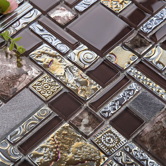 Brown Glass and Metal Tile Backsplash Brushed Aluminum Mosaic Iridescent Tile Bathroom Wall Tiles