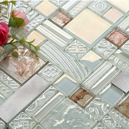 Silver Aluminum Brushed Metal Tile Brown and White Crystal Glass Mosaic Iridescent Tile Backsplash