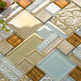Brass Aluminum Brushed Metal Tile Gold and White Crystal Glass Mosaic Iridescent Tile Backsplash