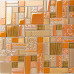Brass Aluminum Brushed Metal Tile Orange and Brown Crystal Glass Mosaic Iridescent Tile Backsplash