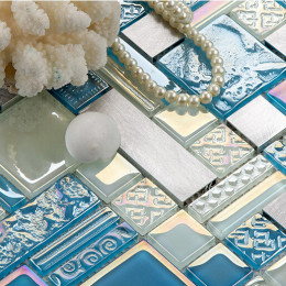 Silver Aluminum Brushed Metal Tile Blue and White Crystal Glass Mosaic Iridescent Tile Backsplash