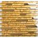 Gold Stainless Steel and Glass Blend Mosaic Interlocking Crystal Backsplash Tile for Kitchen and Bathroom