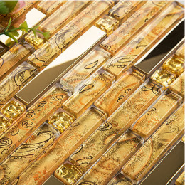 Gold Stainless Steel and Glass Blend Mosaic Interlocking Crystal Backsplash Tile for Kitchen and Bathroom